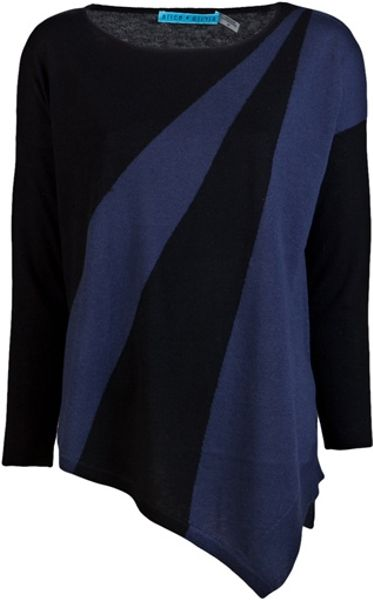Alice + Olivia Colorblock Sweater in Black - Lyst