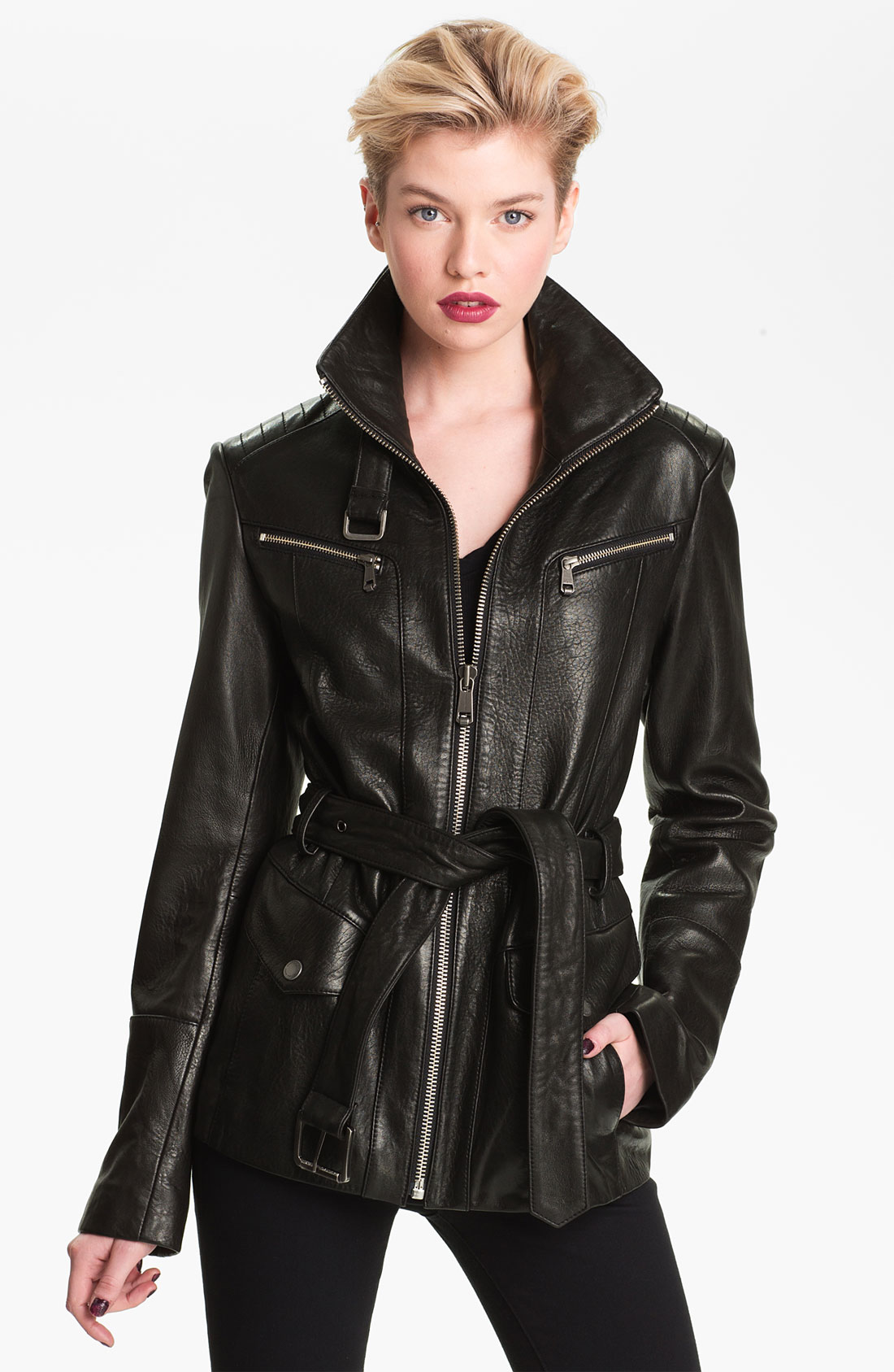 Andrew Marc Belted Leather Jacket In Black Lyst
