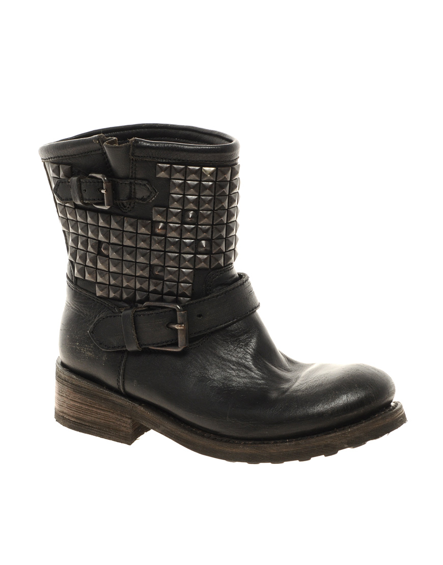 ash titan studded leather boot in black lyst