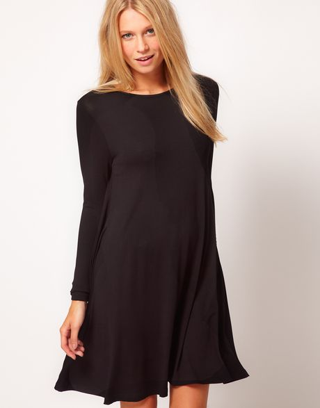 Asos Collection Swing Dress With Long Sleeves In Black Lyst