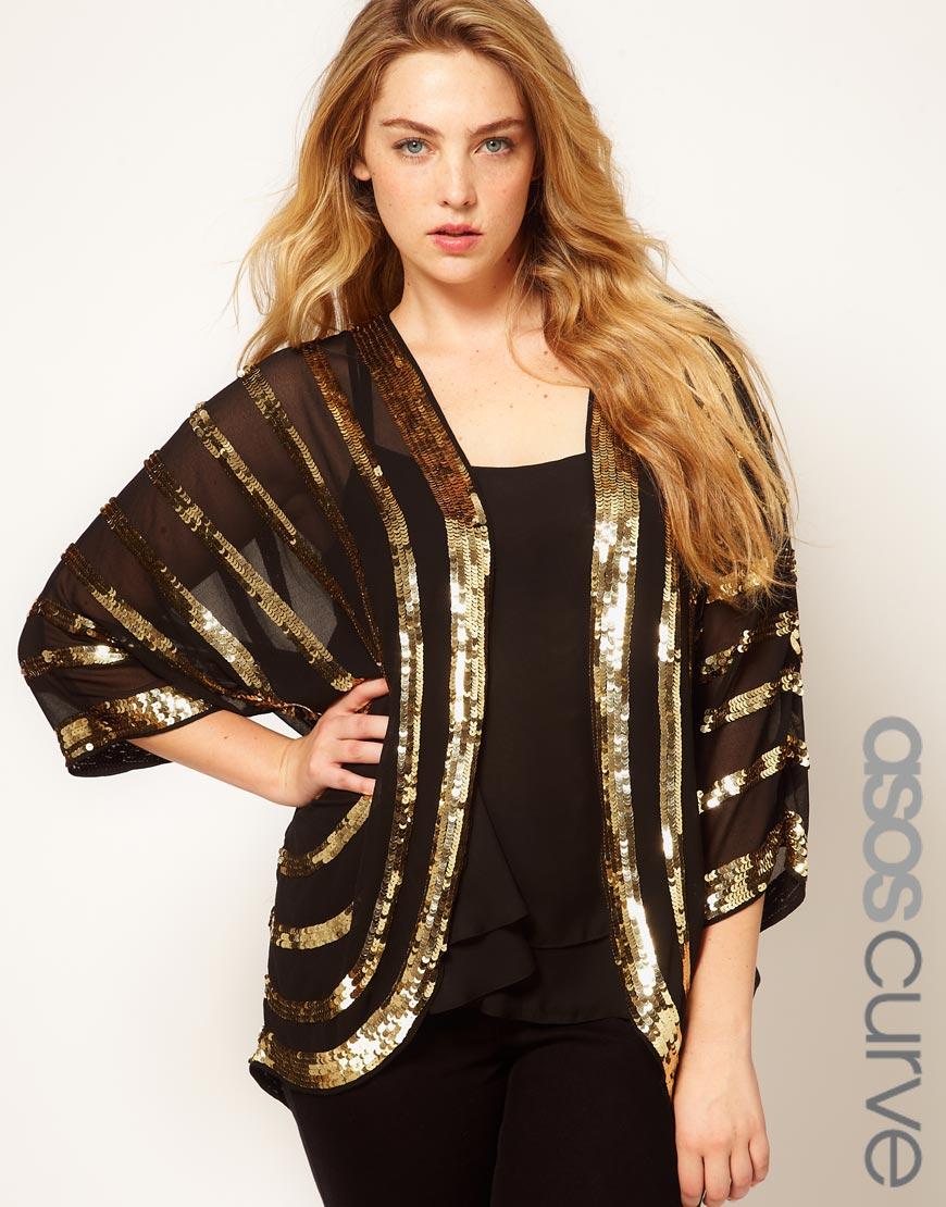 Lyst Asos Embellished Kimono With Sequin Stripes In Metallic