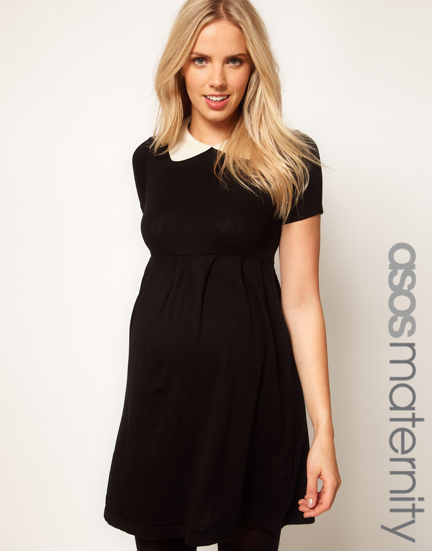 asos maternity knitted dress with peter pan collar in white blackcream lyst. Black Bedroom Furniture Sets. Home Design Ideas