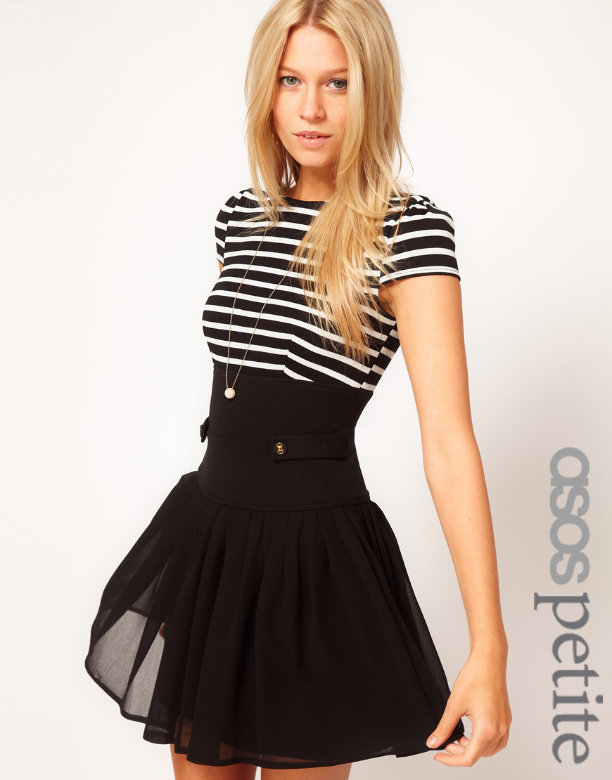 Asos Dress with Stripe Top and Chiffon Skirt in Black   Lyst