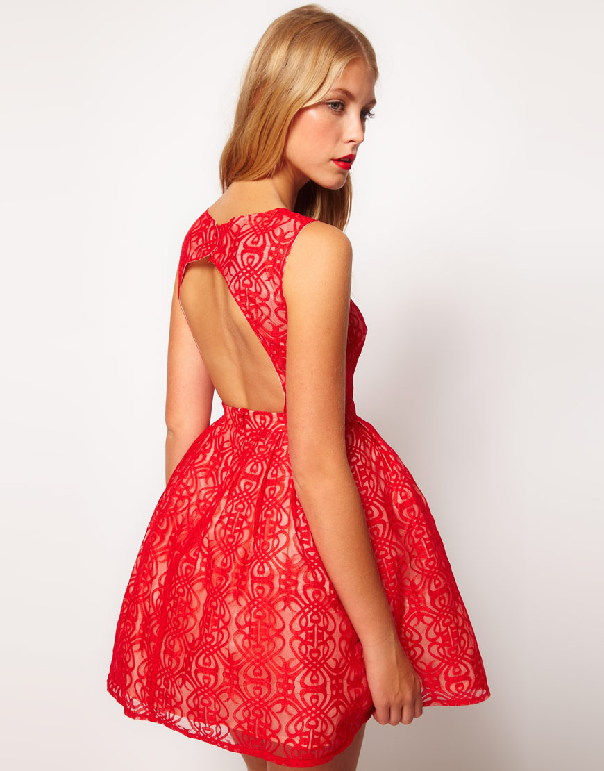 Asos Lace Dress With Cut Out Back In Red Lyst