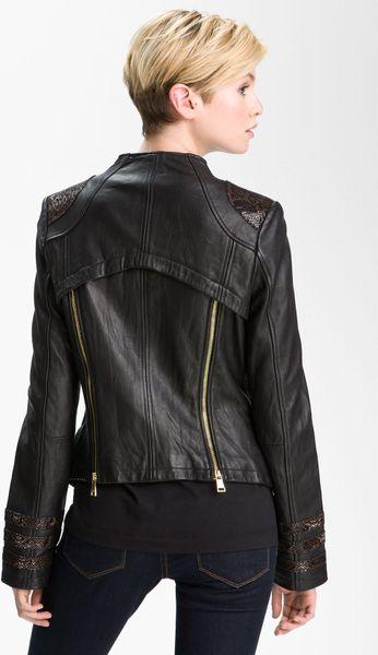 Bebe Snakeskin Embossed Trim Leather Jacket In Black Lyst