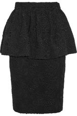 Burberry Prorsum Cotton Lace Peplum Skirt