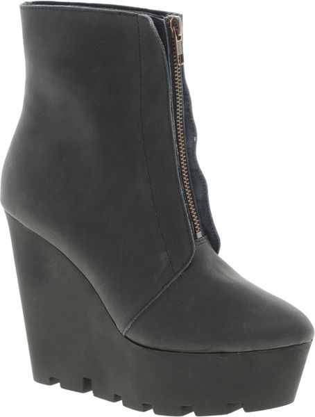 Cheap Monday Monolit Zip Front Wedge Ankle Boots in Black