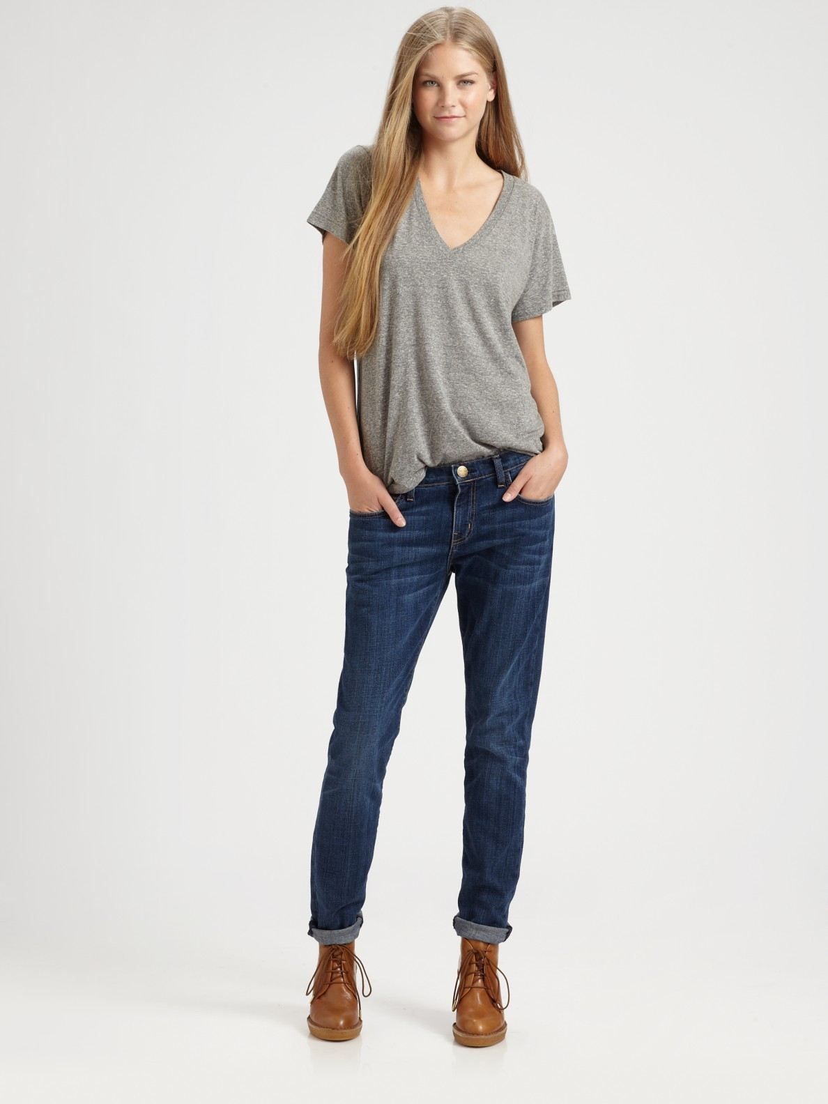 Current/elliott The Boyfriend Jeans in Blue | Lyst