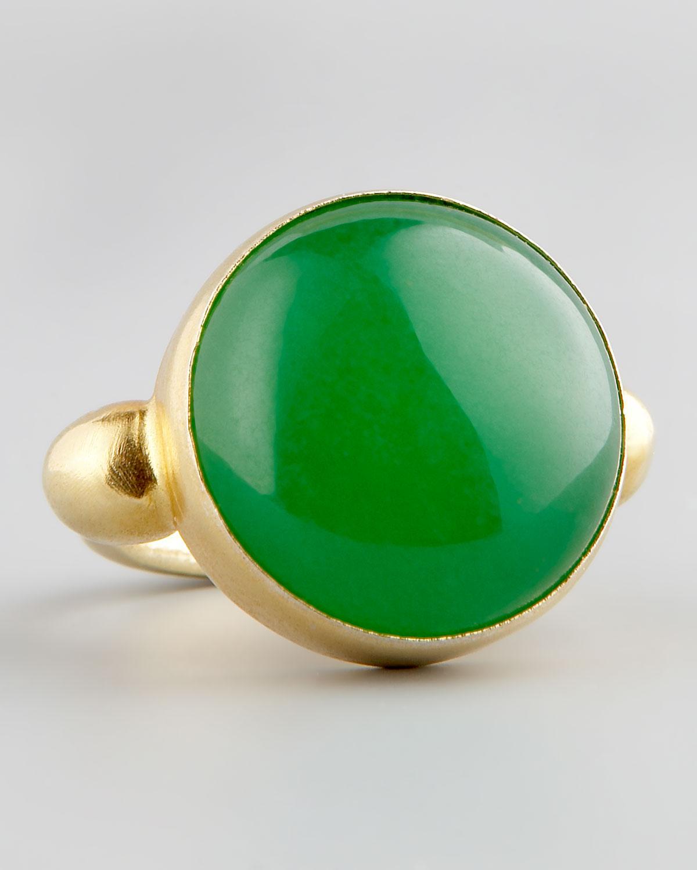 Lyst Devon Leigh Green Jade Gold Ring In Green