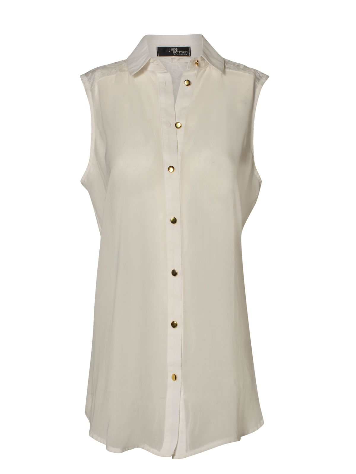 efaa221fca4988 Jane norman Sleeveless Lace Blouse in White