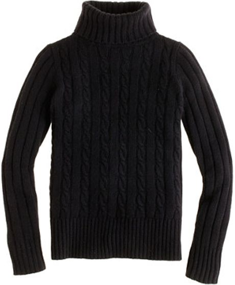 J Crew Cambridge Cable Chunky Turtleneck Sweater In Black