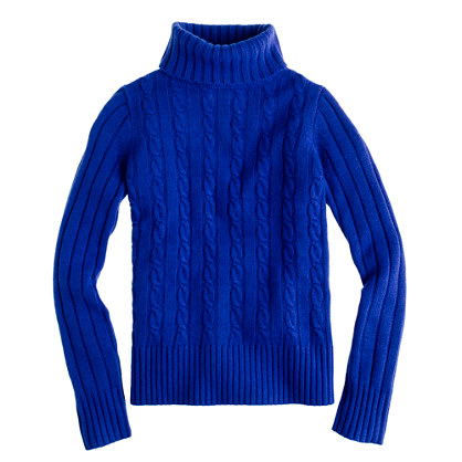 J.crew Cambridge Cable Chunky Turtleneck Sweater in Blue | Lyst