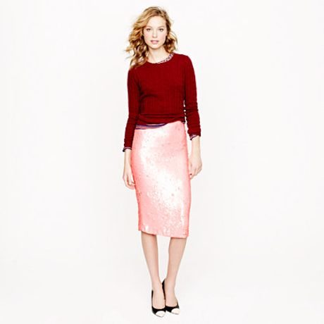 j crew collection no 2 pencil skirt in sequins in pink