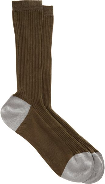 Maria La Rosa Narrow Ribbed Midcalf Sock in Green (olive)