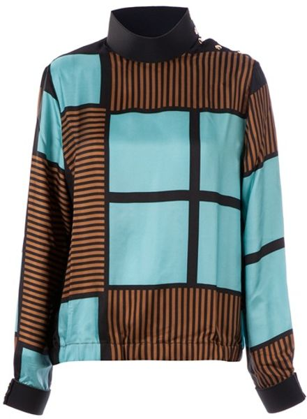 Marni Patterned Blouse in Blue - Lyst