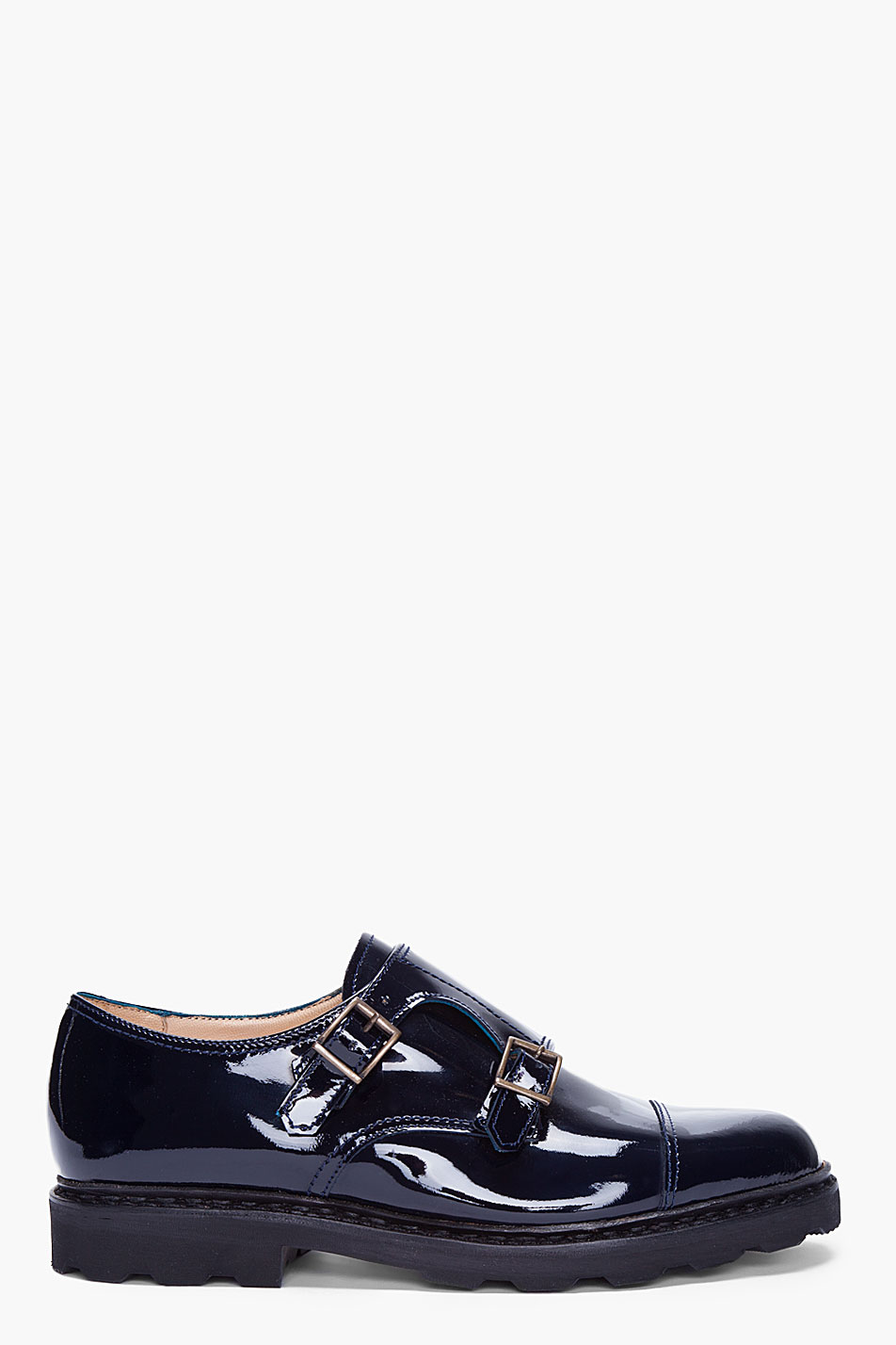 mugler navy patent leather monk shoes in blue for