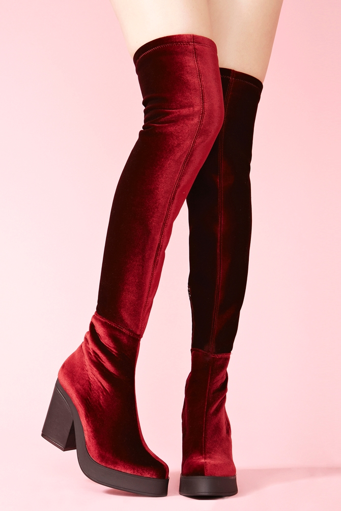 Lyst Nasty Gal Emi Thigh High Boots In Red