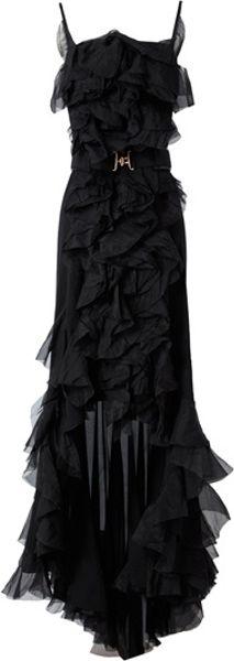 Nina Ricci Belted Ruffle Gown in Black
