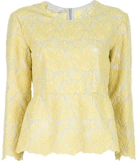 Stella Mccartney Peplum Top in Yellow