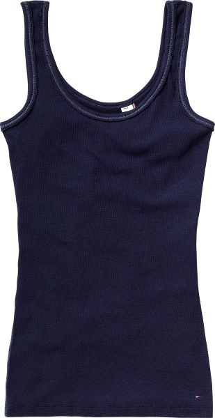 Tommy Hilfiger Round Neck Fitted Tank Top with Tommy Hilfiger L in Blue (dark blue)