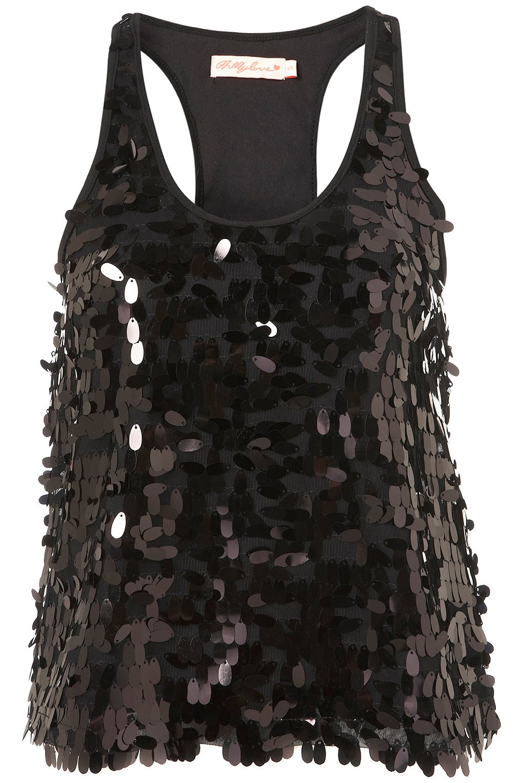 bd02e0e01b9bc TOPSHOP Sequin Vest Top in Black - Lyst