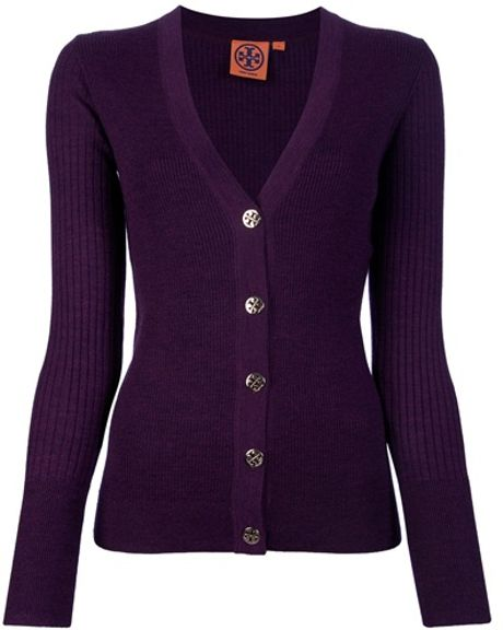Tory Burch Cardigan in Purple - Lyst