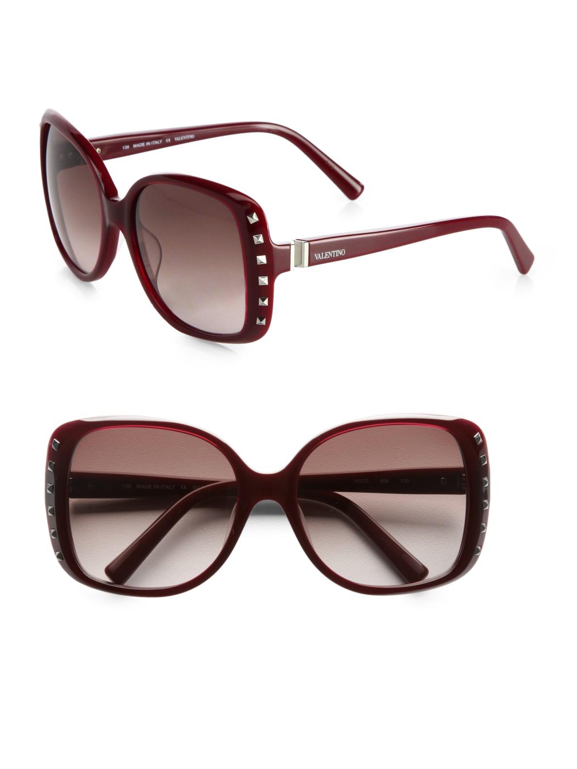 24ab00493f04a Valentino Rock Stud Square Sunglasses in Black (portwine)