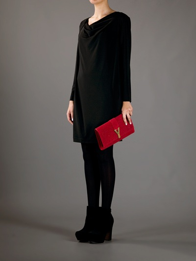 Saint laurent Chyc Clutch in Red   Lyst