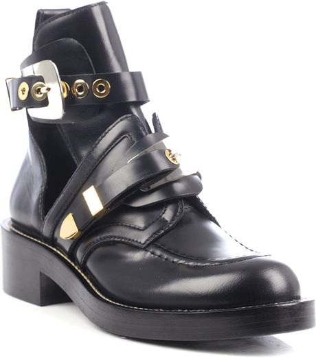Balenciaga Cutout Leather Ankle Boots in Black