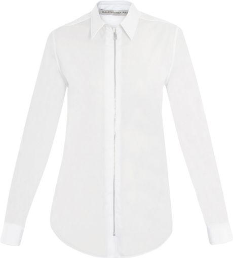 Balenciaga Poplin Zip Shirt in White