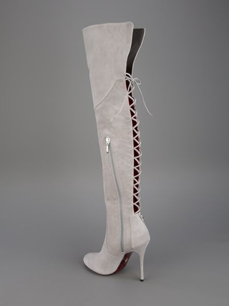 cesare paciotti thigh high boot in gray grey lyst