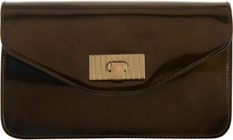 Chloé Patent Sally Envelope Clutch in Brown (gold)