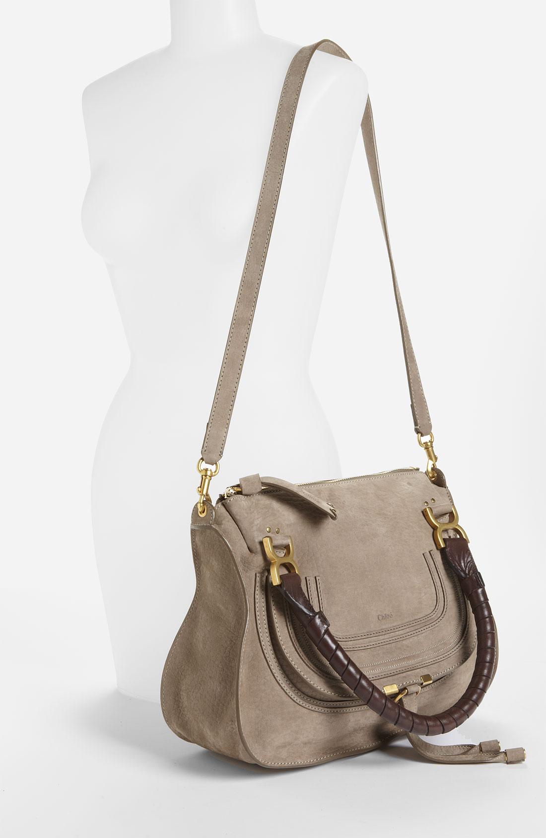 Chlo�� Marcie Small Nubuck Leather Shoulder Bag in Beige (khaki)   Lyst
