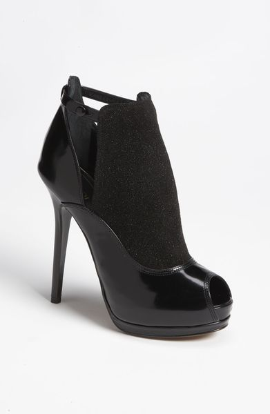 Fendi Victorian Peep Toe Shield Bootie in Black