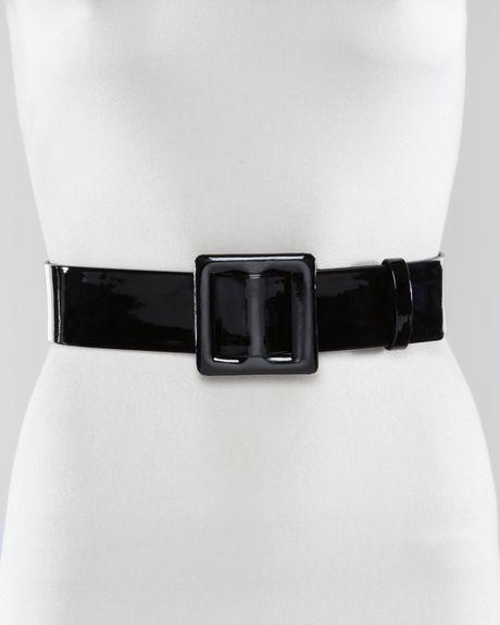 lanvin wide patent leather belt in black large 85 90cm