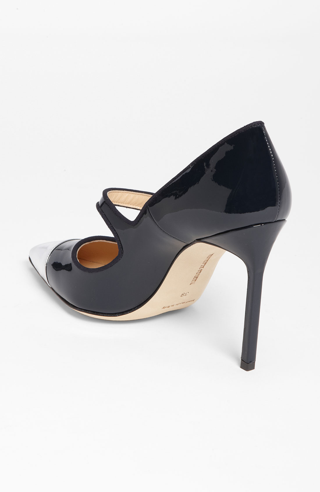 Silver And Navy Blue Heels