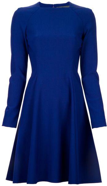 Proenza Schouler Fitted Aline Dress in Blue