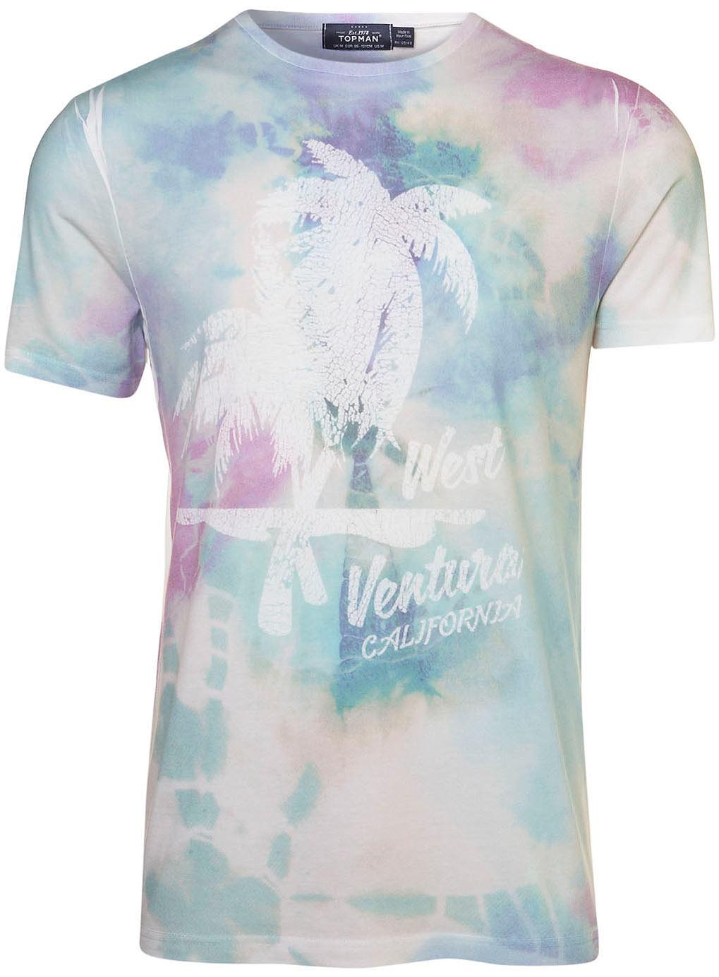Topman tie dye palm sublimation tee in multicolor for men multi lyst for Dye sublimation t shirt