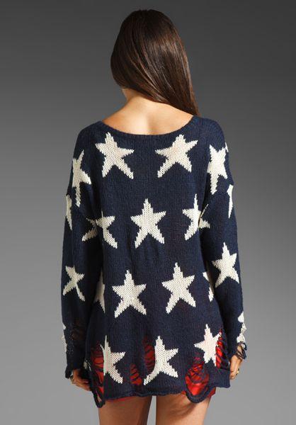 wildfox seeing stars lennon sweater in blue uniform navy