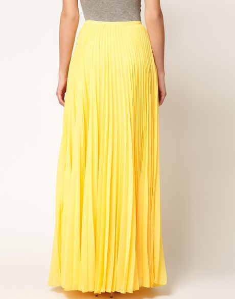 Mango full pleat maxi skirt in yellow lyst