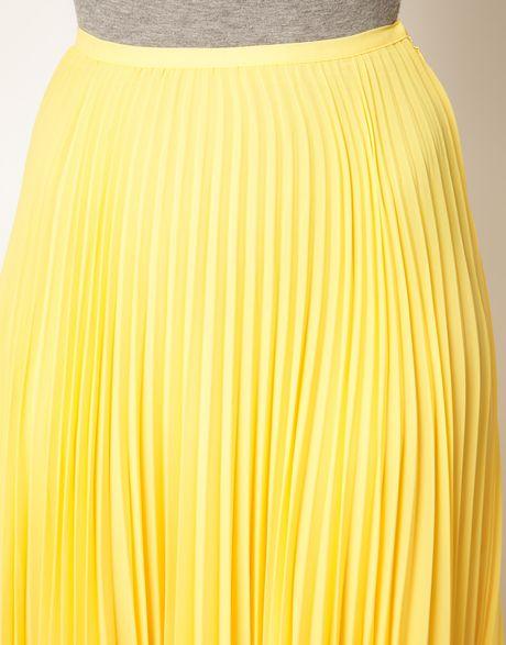 mango pleat maxi skirt in yellow lyst