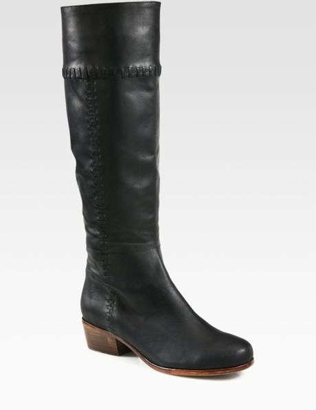 Joie Journey Leather Knee High Boots in Black