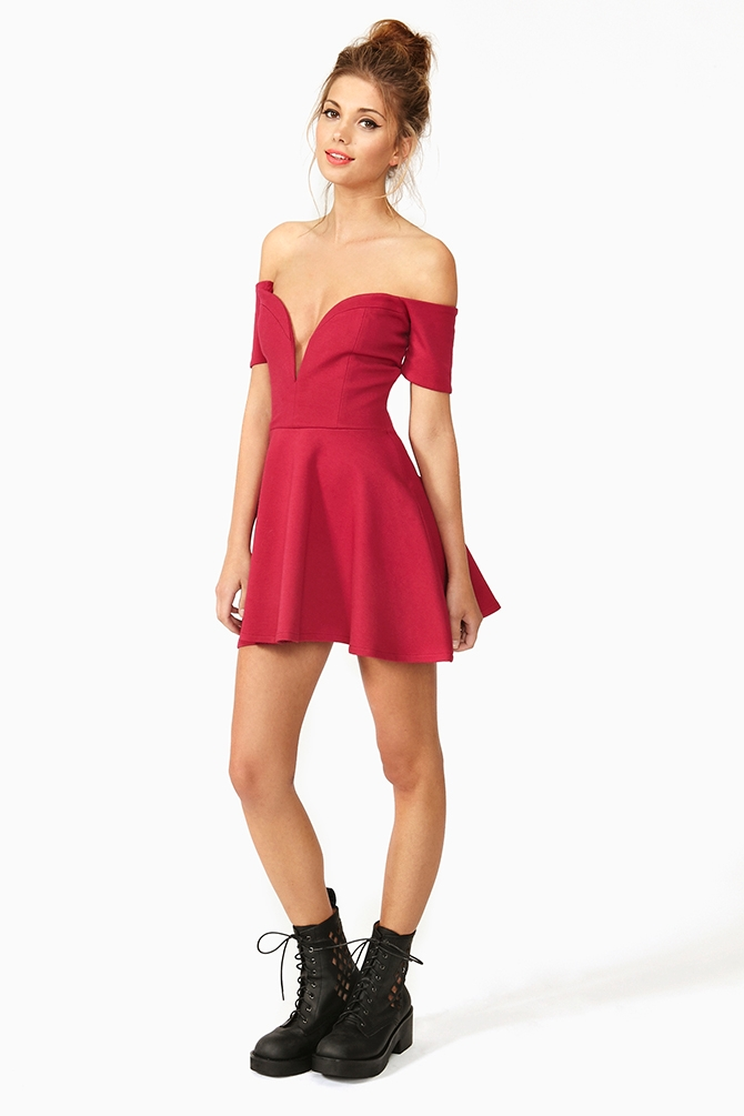 377814e4772 Nasty Gal Wired Skater Dress Control in Red - Lyst