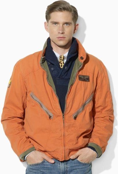 Polo Ralph Lauren Reversible Flight Jacket In Orange For