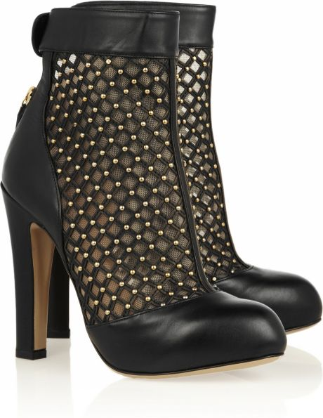 Valentino Studded Leather and Mesh Ankle Boots in Black
