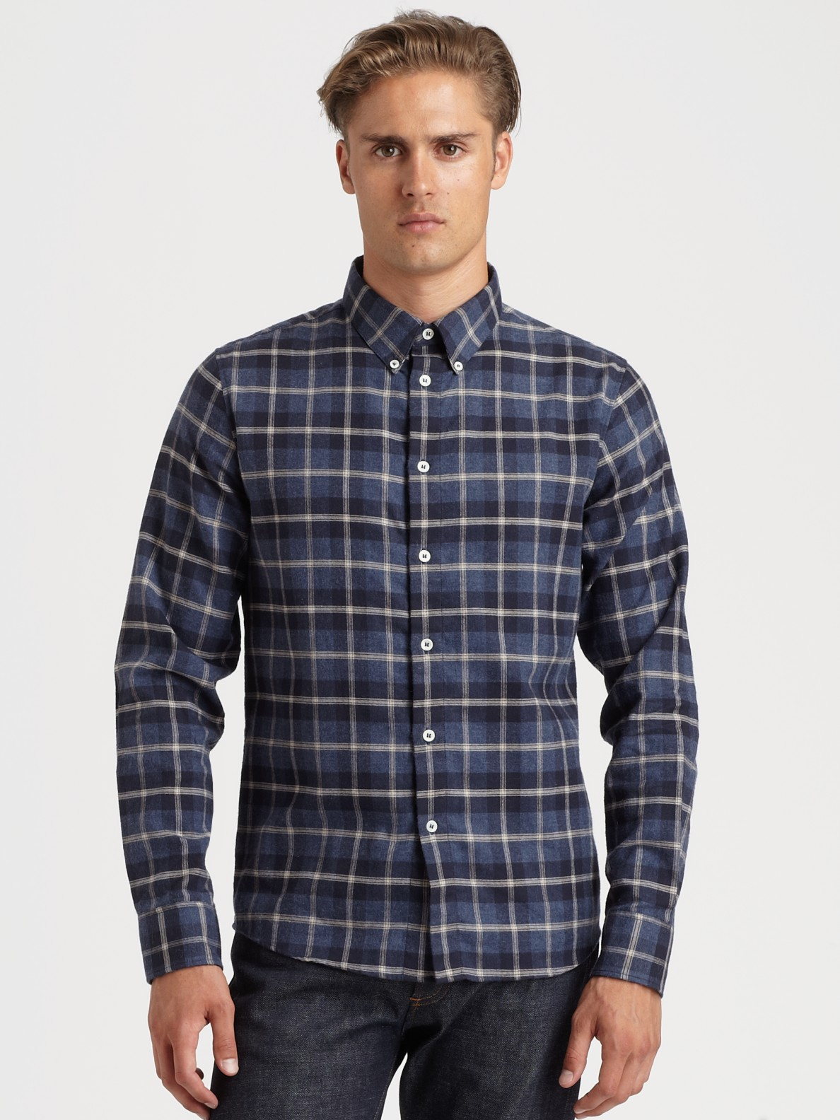 A.p.c. Chemise Button Down Sportshirt in Blue for Men | Lyst