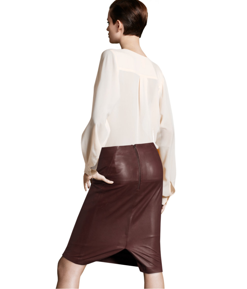 h m leather skirt in purple lyst