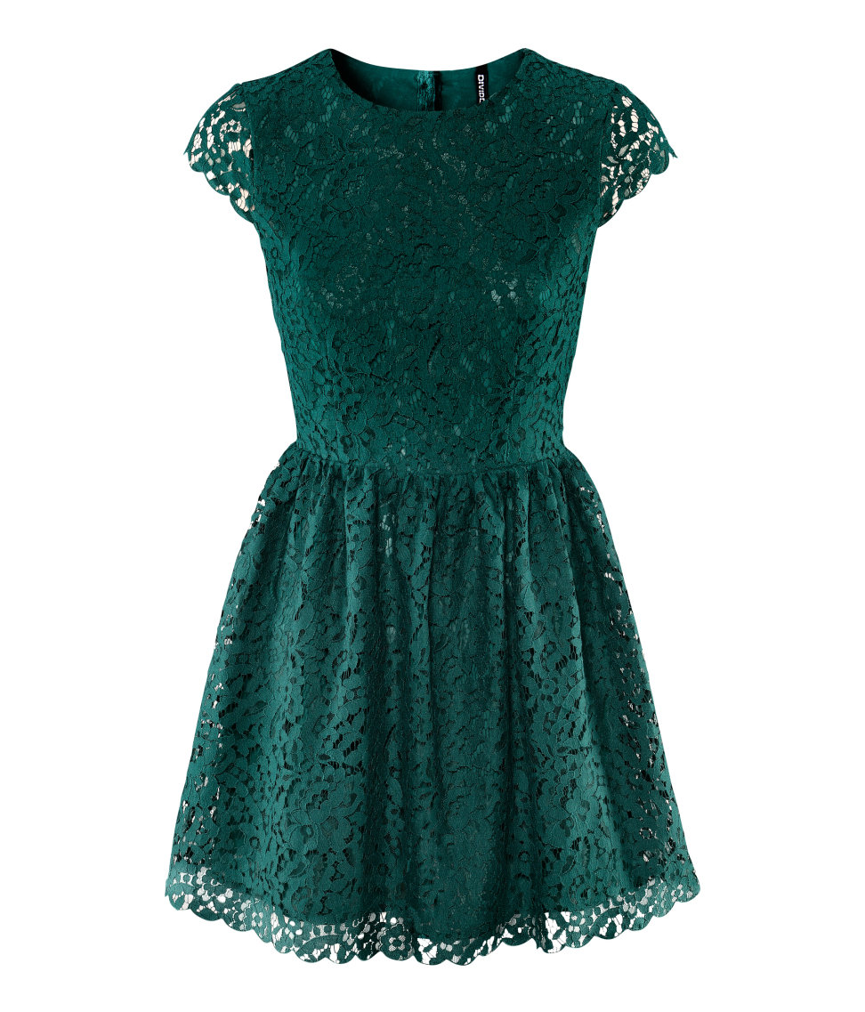 Lyst - H&M Lace Dress in Green
