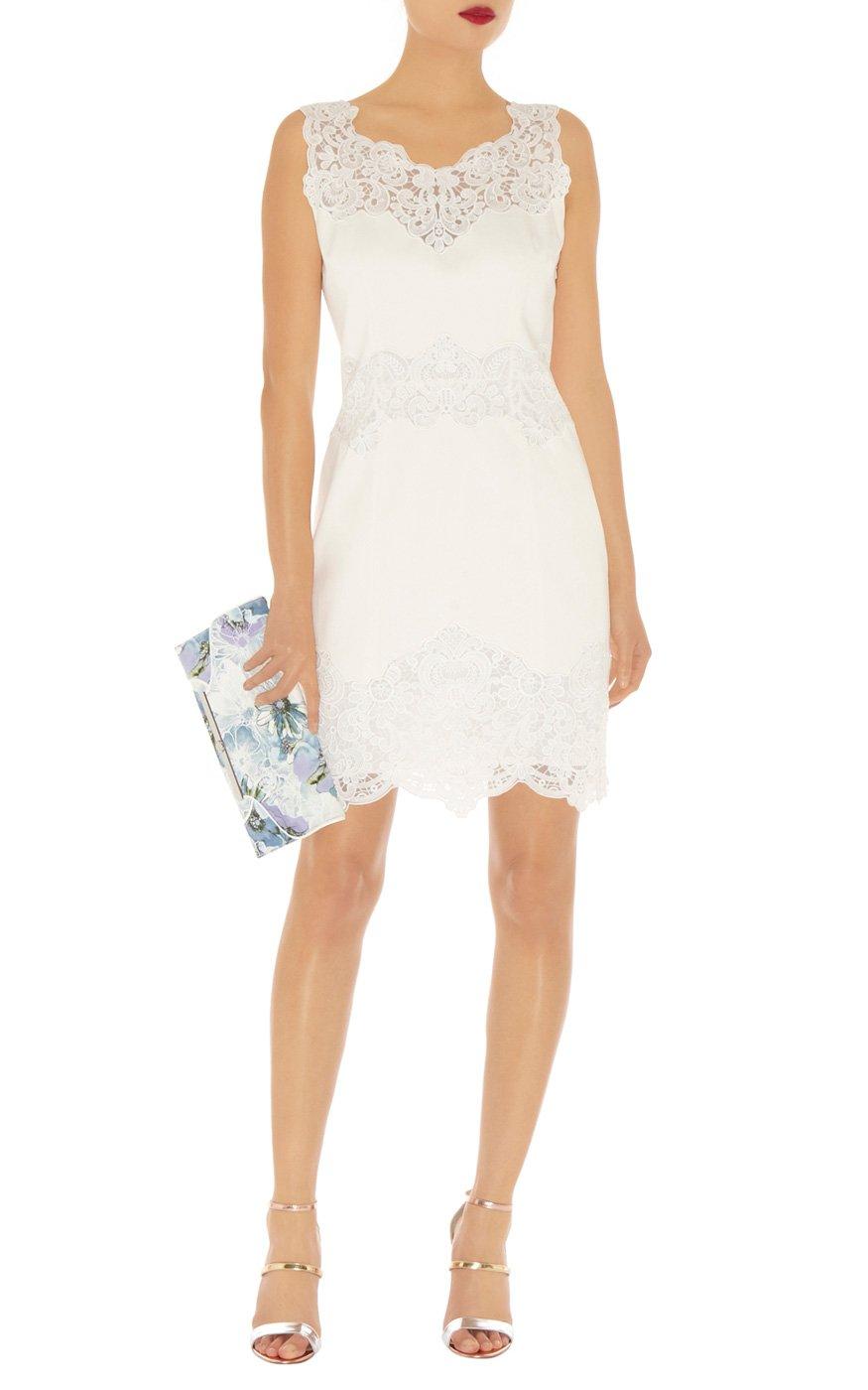 Karen millen blue cotton lace panel dress