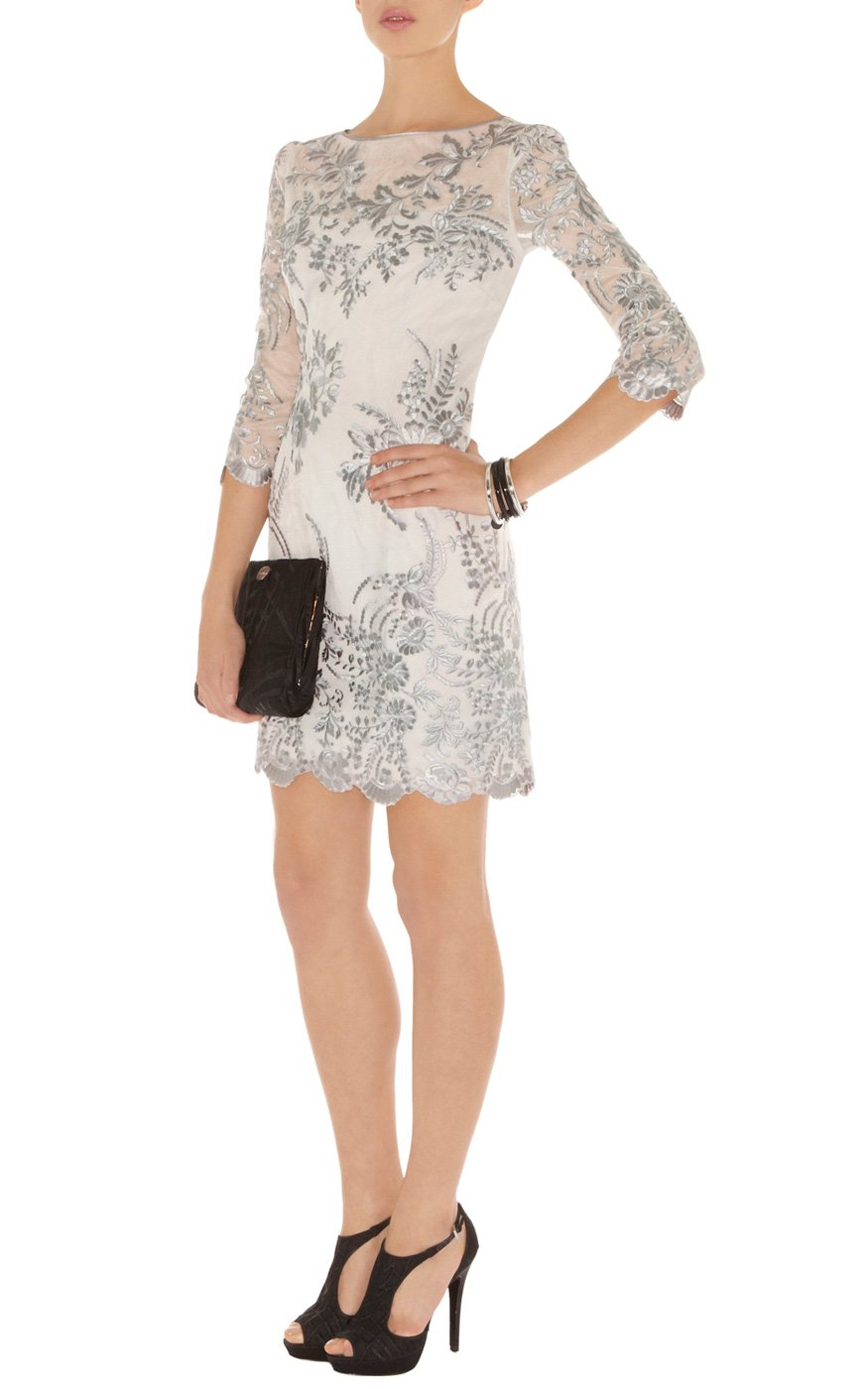 Lyst karen millen lace and embroidery dress in natural